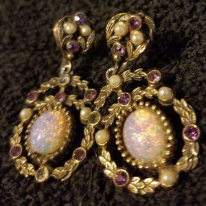 Vtg Filigree Screw On Earrings Opal Pearl Amethyst